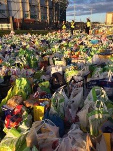 This is a picture of the amount of food Celtic supporters brought during a recent food drive that the club hosted